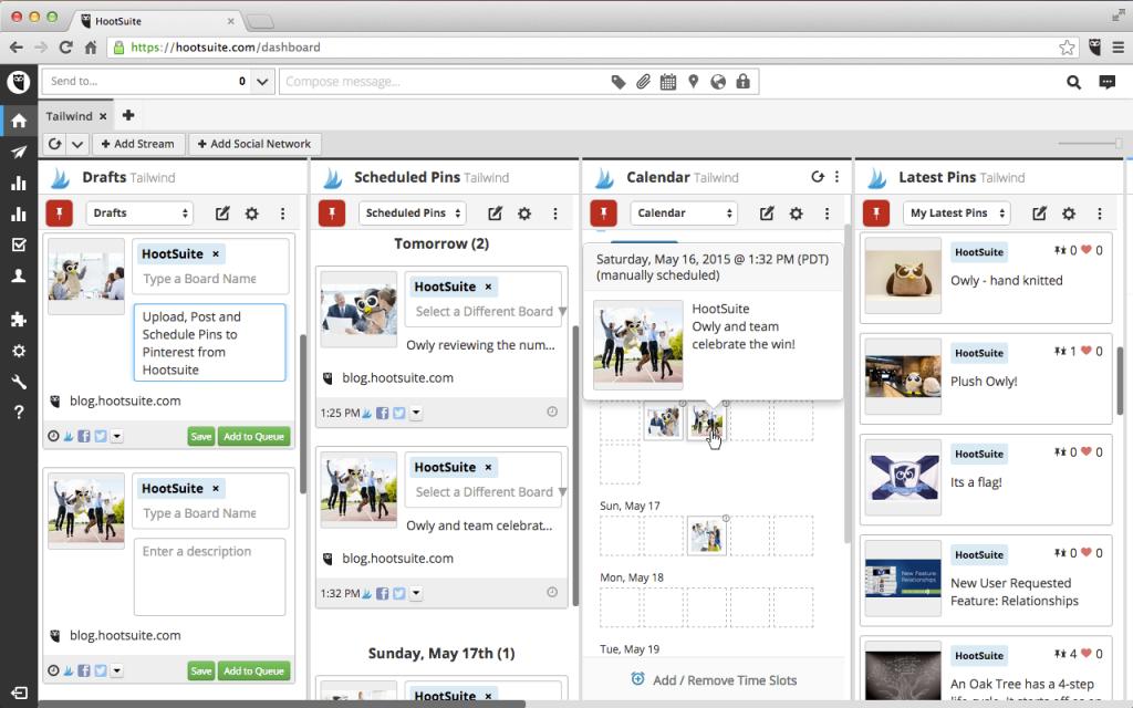 Dashboard Hootsuite.com para agendamento de post no Instagram